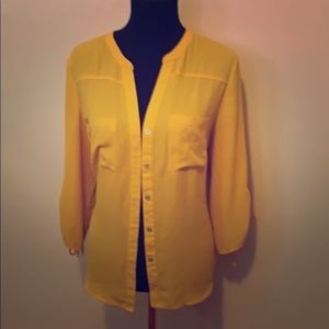 Mustard button down blouse